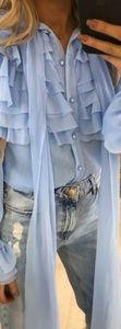 Elle Baby Blue Ruffle Blouse